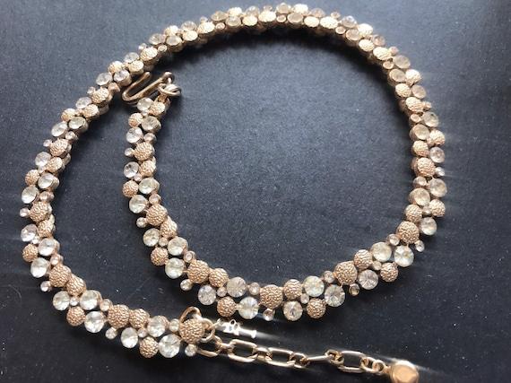 Beautiful Vintage trifari Brushed Gold Plated Metal Diamanté Choker Necklace