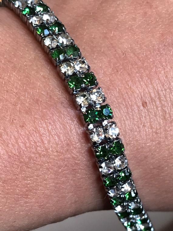 Super sparkling vintage Diamanté bracelet brilliant cut clear and green round stones