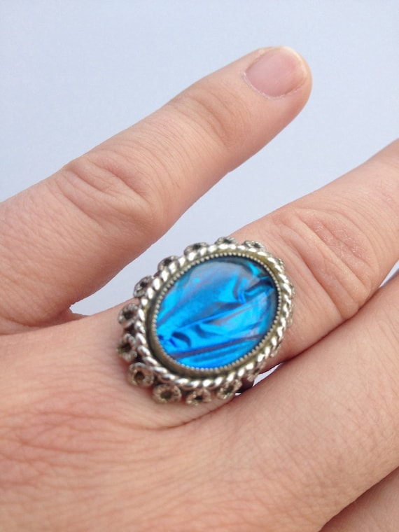 Vintage bright blue butterfly wing and Marcasite ring