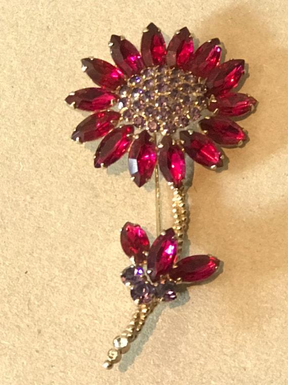 1950s signed Weiss Brooch Rhinestones flower stem pin