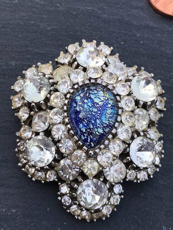 Striking blue  foil glass opal oval tear drop centre Victorian revival style brooch