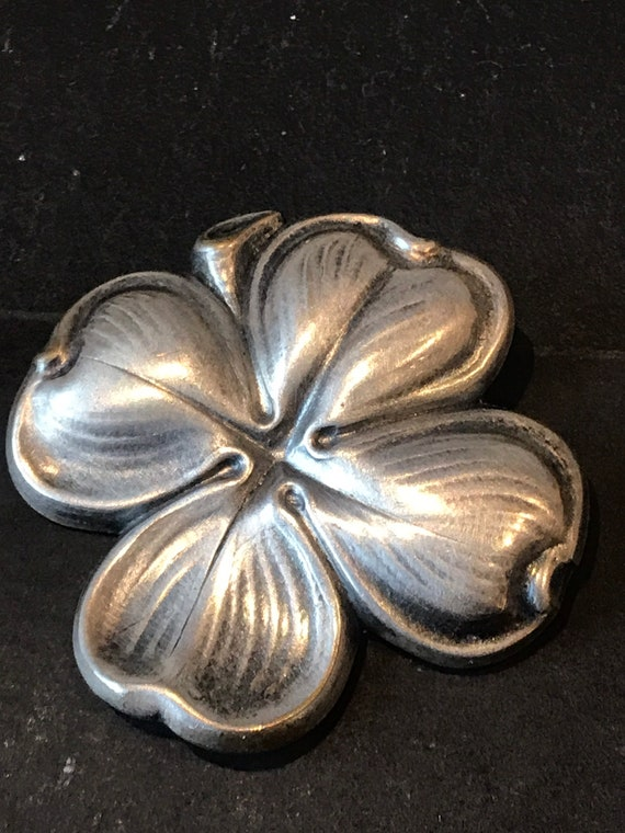 Vintage German D.R.P stylised silver toned dress clip lucky 4 leaf clover