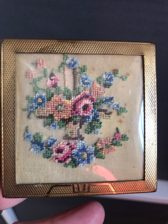 Old Art Deco tapestry Backed square compact