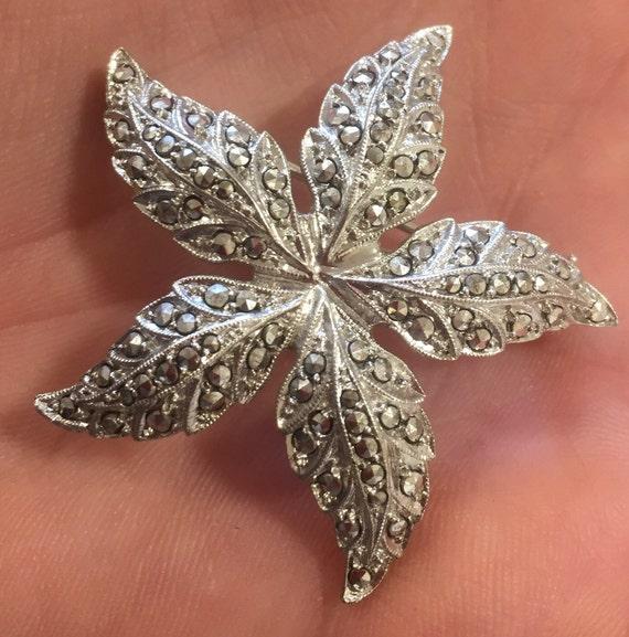 Vintage 800 silver and Marcasite leaf design brooch/ pin c1940s