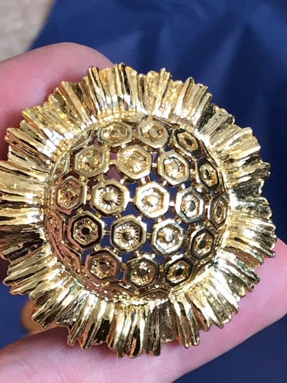 Modernist style golden sunflower brooch signed Monet c1980s