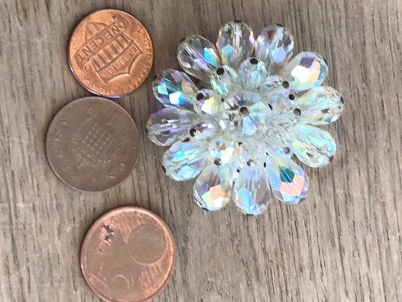 Vintage aurora Borealis rainbow crystals cluster brooch pin