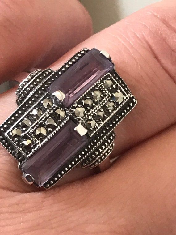 Striking Art Deco style solid silver, Amethyst and Marcasite geometric statement ring size P
