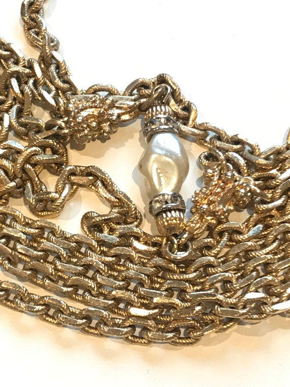 Stunning designer Givenchy signed couture multi stranded gold plated and faux pearls chain necklace