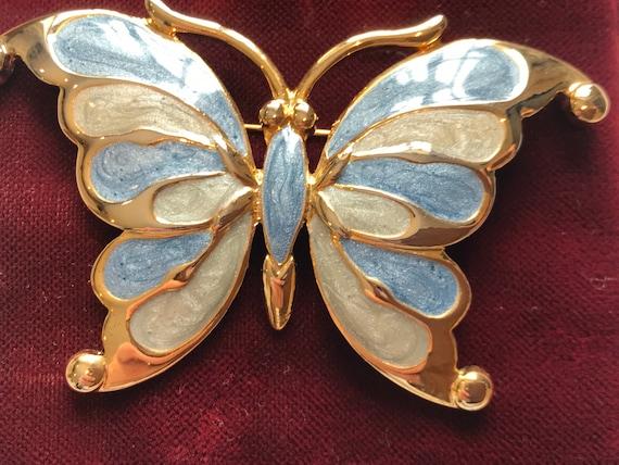 1980s Blue  enamelled Gold toned Butterfly Brooch