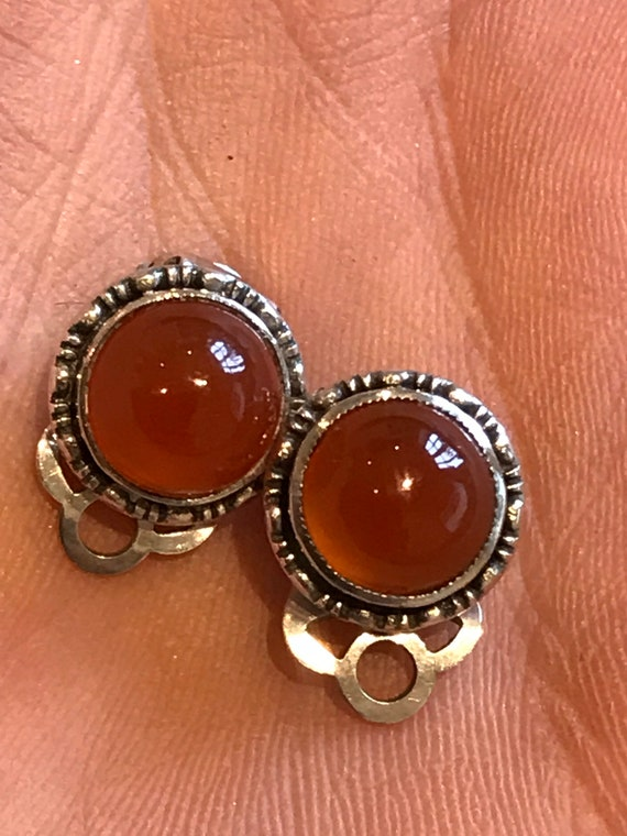 Vintage small Solid Silver And carnelian Classic Clip On Earrings