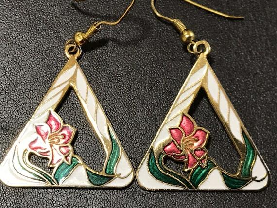 Vintage cloisonne enamel triangle floral drop earrings