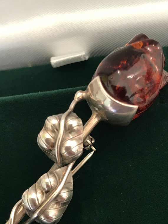 Vintage Baltic Amber & 925 Silver Rose shaped brooch  3 inches in length