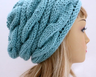 Hat Knitting Pattern Winter Hat, Slouchy Hat