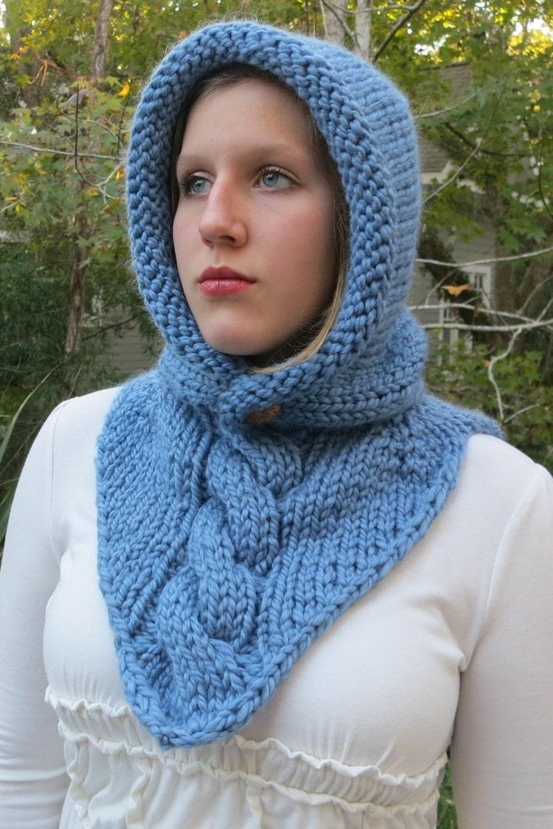 Knitting Pattern Hoodie Cowl Super Bulky Yarn Winter Hat ...