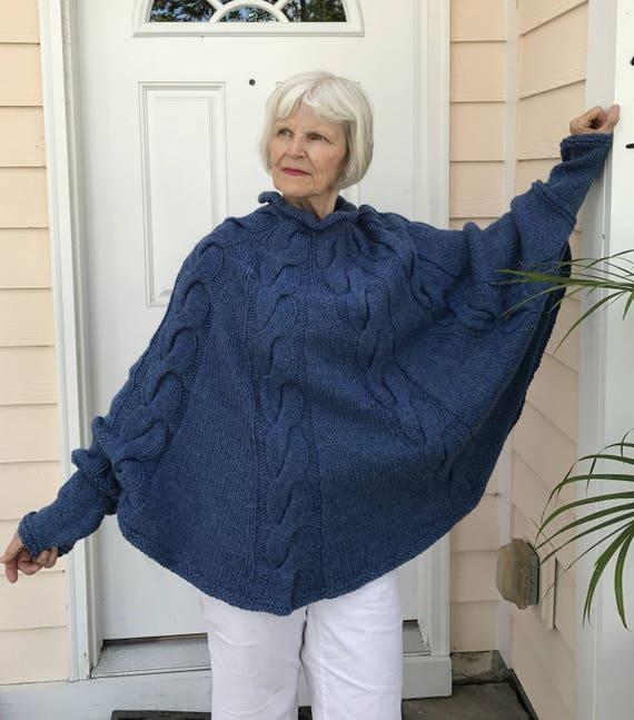 fed1374c0 Genevieve Poncho Knitting Pattern Cape Pattern Bulky Yarn Etsy