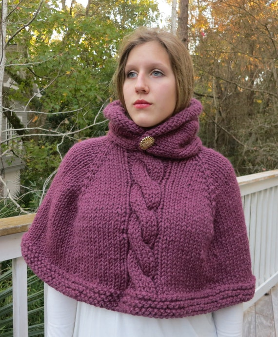 Poncho Knitting Pattern Cape Hoodie Poncho Bulky Yarn From