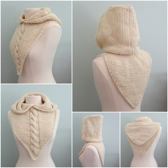 Hoodie Knitting Pattern Hood And Cowl Bandana Cowl Hat Etsy