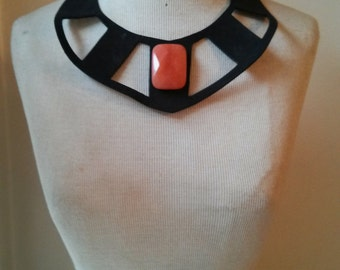 1923678bd50 ON SALE original price 29.99 - Black Leather Necklace with orange quartz  stone and silver color metal finishing