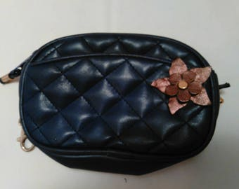 ef15c296ac0 ON SALE Original price 10.99 - Vintage Small Purple Quilted purse with  leather flower applique and metal chain clip