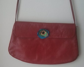 44ff86b3697 Altered Retro Red Real Leather Purse with handmade silk flower applique