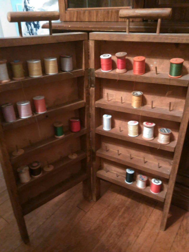 rack or box Antique wooden sewing threads display