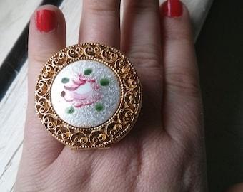 Handmade Big Floral Guilloche Locket Adjustable Ring