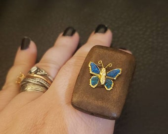 Handmade Rectangular wood bead with enamel and metal butterfly silver metal tone Adjustable Ring