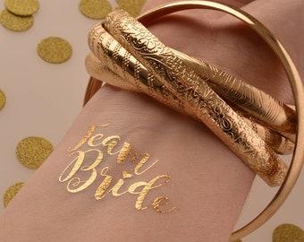 5 x Team Bride Hen Party Temporary Tattoos - Team Bride & Bride to Be Tattoo Pack - Gold Temporary Tattoos