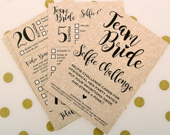 10 x Hen Party Selfie Challenge Cards - Hen Night Games - Hen Party Game - Girls Night Out Activities