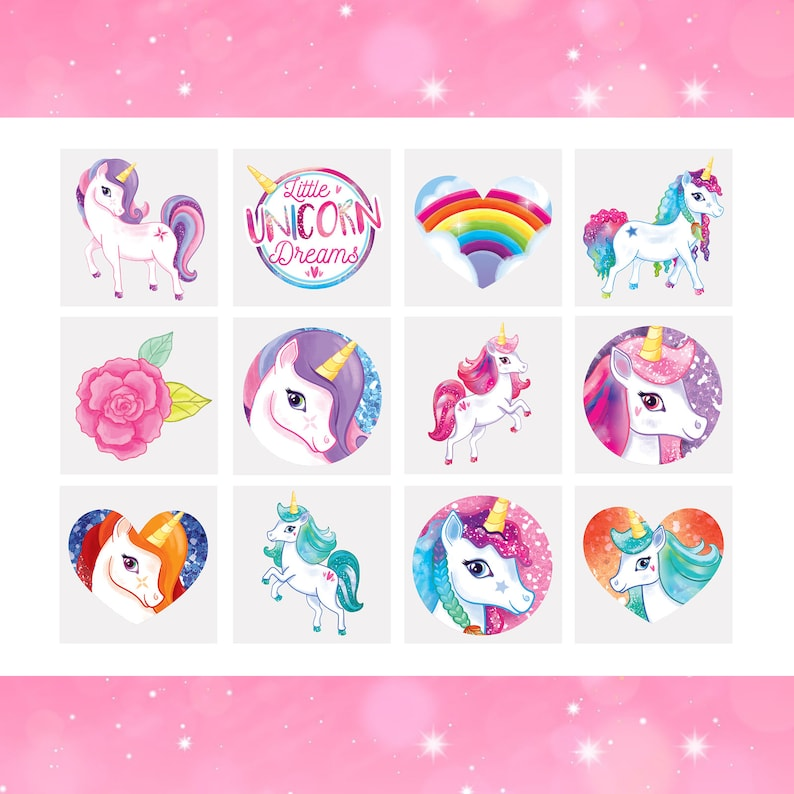 12 x Unicorn Tattoos | Unicorn Temporary Tattoos | Unicorn Party Bag  Fillers | Childrens Loot Bag Filler Girls Birthday