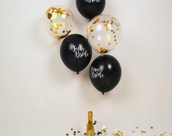 Team Bride Hen Party Balloons - Hen Night Balloons - Black and Gold Hen Night