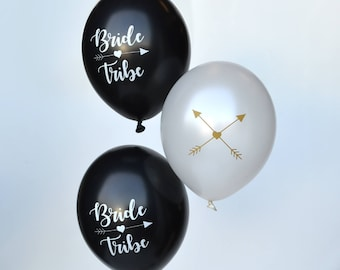 Bride Tribe Hen Party Balloons - Hen Night Balloons - Black White and Gold Hen Night - Classy Hen Night