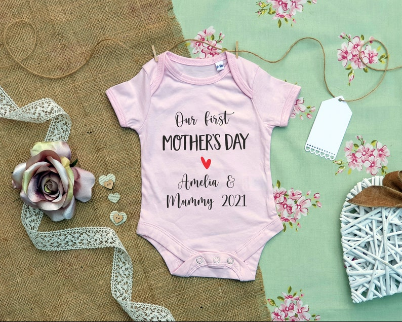 First Mothers Day Baby Grow Baby Grow Cute Mothers Day Gift Personalised Baby Grow First Mothers Day Gift  Mother Day Present