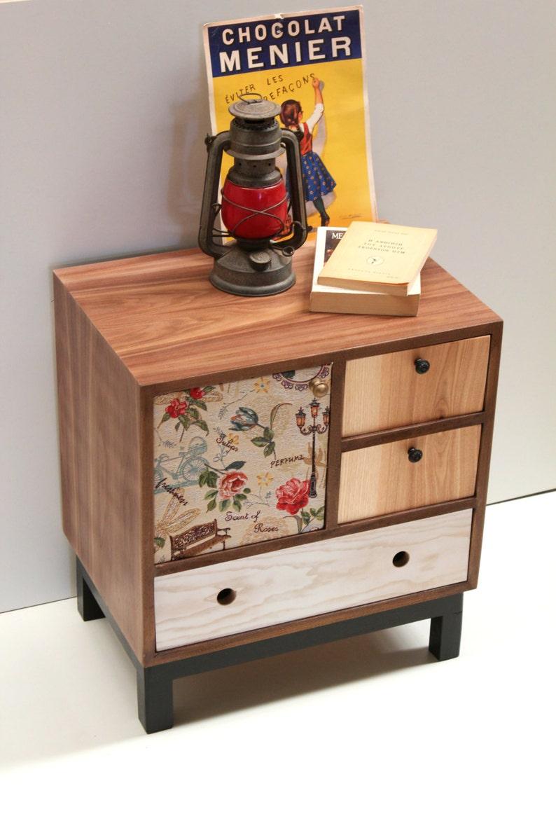 Mid mod Nightstand Walnut Bedside table Boho Night Table Handmade Custom Made