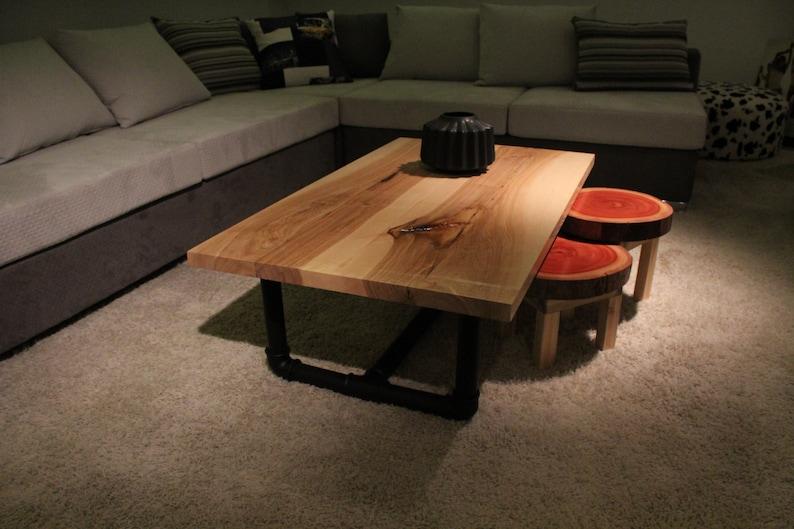 Industriële massief eiken salontafel high end sofa tabel tabel etsy