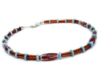 Men's necklace with beads in brown and turquoise. Handcrafted necklace for men with glass beads, collar for gentlemen, boho male jewelry