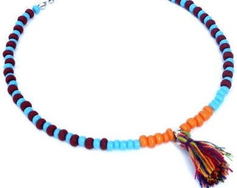 Anklet in orange, aquamarine, brown with tassel. Handcrafted ankle bracelet with seed beads, beaded ankle chain, boho chic festival jewelry