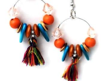 Earhoops with tassels, beads. Handcrafted lightweight earring, glass bead, shell, wood, coconut. Boho hoop earring, orange, turquoise, brown