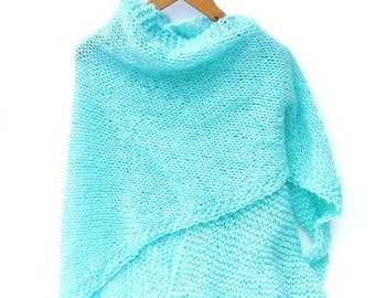 Turquoise knitted shawl. Handknitted wrap, knitted triangular shawl, triangle scarf, trendy blue stole, accessory, knit wrap girl, knitwear