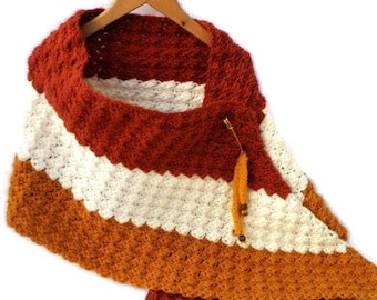 Crocheted shawl in the colors cognac, mustard yellow, écru. Handcrocheted wrap, chunky scarf, trendy stole, shawl in fantasy pattern, vegan