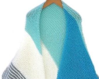 Hand knitted wrap shawl in stripe pattern. Knitted triangular shawl, vegan triangle wrap, light turquoise, dark turquoise, light grey, white