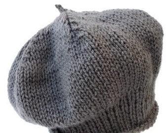 Grey beret handknitted. Handcrafted slouchy hat dark grey, handmade beanie, knitted slouchy ladies hat, headwear knit beret, knitwear women