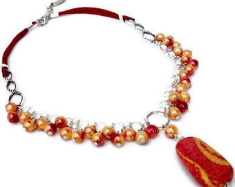Red and yellow necklace with pendant from ceramic, red/yellow acrylic beads. Handcrafted choker, red faux suede cords, red, yellow, Per Elle