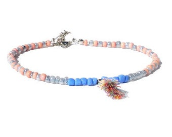 Anklet in pink, grey and blue with tassel. Handcrafted ankle bracelet with seed beads, beaded ankle chain, boho chic festival jewelry women