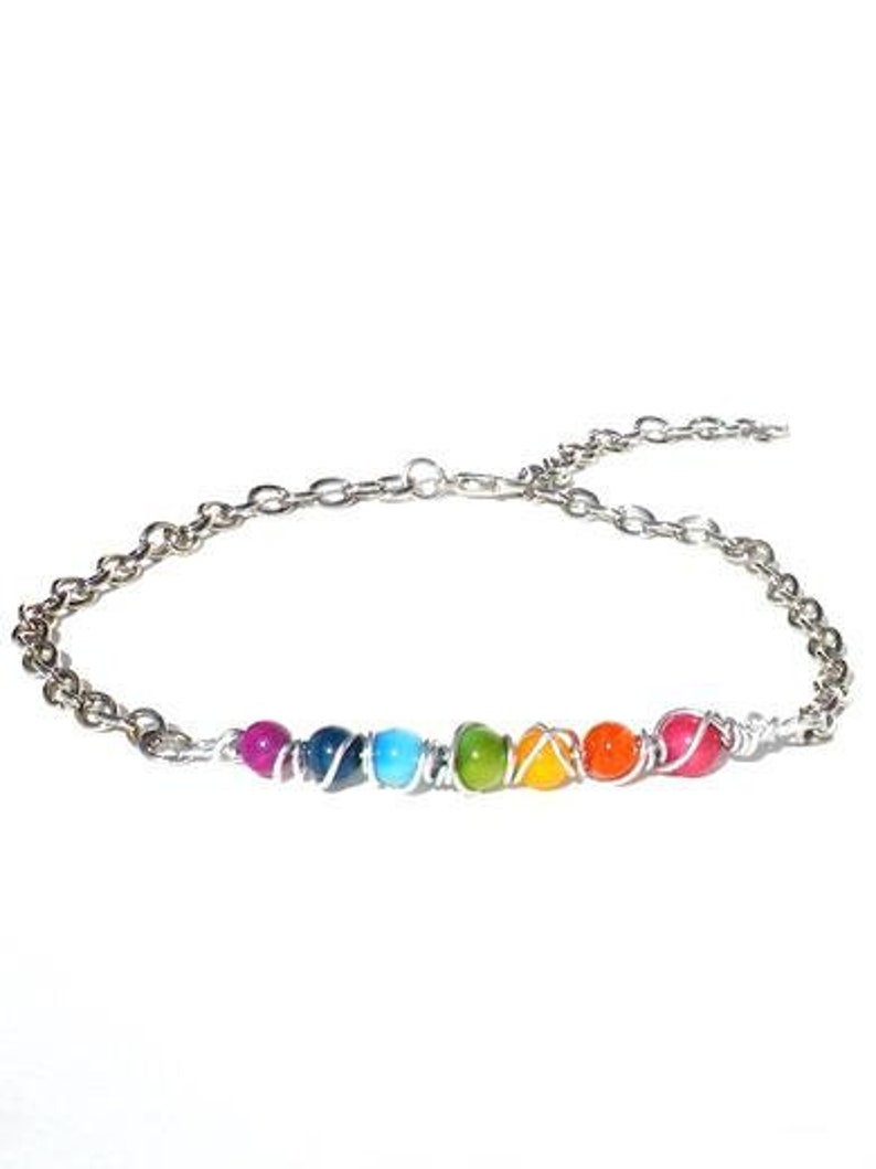 Chakra anklet with gemstones. Beaded ankle chain image 0