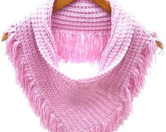 Pink tube shawl with fringes. Handmade lilac pink circle scarf, hand knitted neckwarmer, loop scarf, infinity triangle cowl, fringed cowl
