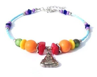 Seven chakra anklet with glass beads, shell beads and buddha charm. Handcrafted ankle chain, silverplate boeddha, yoga, meditation, chakra