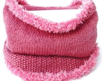 Pink knitted tube shawl. Handmade wool circle scarf, handknit neckwarmer, knitted loop scarf, tunnel shawl, fluffy yarn edge, bandana cowl