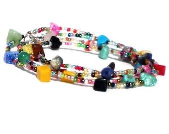 Multicolor bracelet, glass beads and semi-precious stones. Handcrafted wristlet, gemstone bead, friendship bracelet, quadruple wrap wristlet