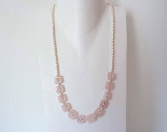 Rose Quartz necklace short with freshwater pearls, delicate necklace pink and white